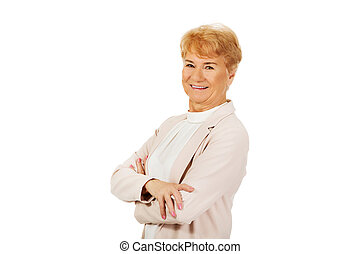 Smile senior woman with folded hands