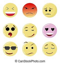 Smile set face, happy yellow emotion, emoticon expression