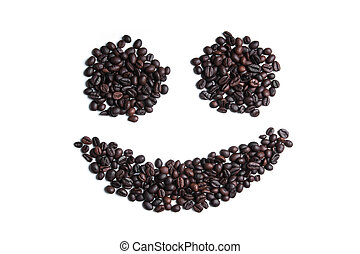 smile shape of coffee beans isolated on white
