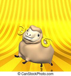 Smile Sheep On Golden Text Space. 3D render illustration For...