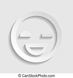 Smile sign. Paper style icon. Illustration.
