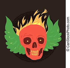 Smile skull with fire and green wing