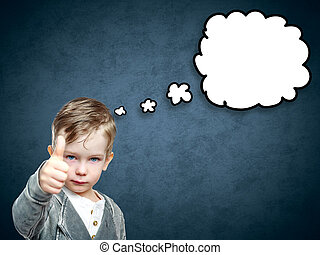 Smile smart boy with empty think bubble on grunge background