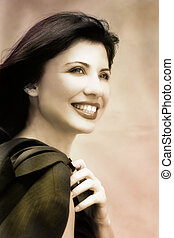 Smile - Smiling successful woman (hand tinted)