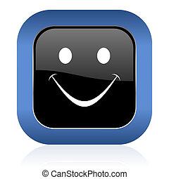 smile square glossy icon