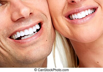 Smile. - Beautiful woman and man smile. Dental health...