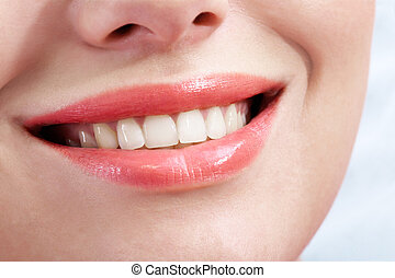 Smile - Close-up of female smile with healthy teeth