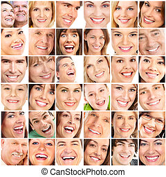 Smile  - Faces of smiling people. Teeth care. Smile