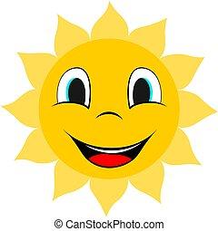 Smile sun icon. Cartoon style.
