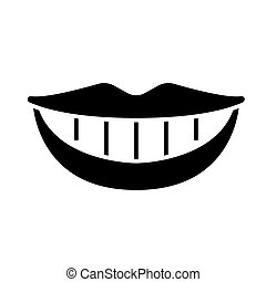 smile teeth mouth icon, vector illustration, black sign on isolated background