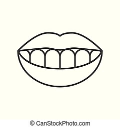 Smile teeth simple outline icon, vector illustration