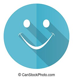 Smile vector icon, flat design blue round web button isolated on white background
