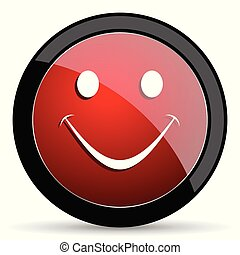 Smile vector icon. Modern design red and black glossy web and mobile applications button in eps 10