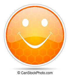 Smile web icon. Round orange glossy internet button for webdesign.