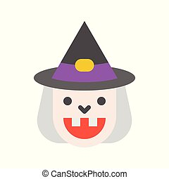 smile witches, halloween character set icon, flat design