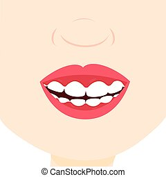 Smile with gingivitis - Child smiling and showing inflamed...