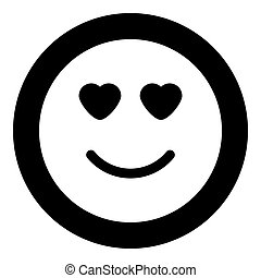 Smile with heart eyes icon black color in circle