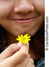 Smile with yellow flowers
