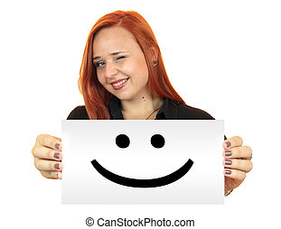 Smile. Woman holding up banner
