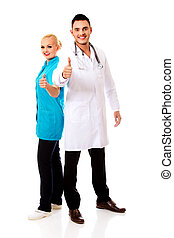 Smile young female and male doctor