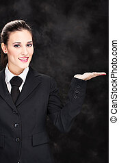 smiled business woman and hand
