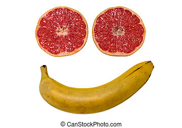 Smiled face made from fruits isolated