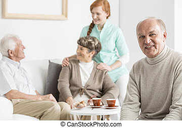 Smiled seniors at nursing home - Smiled seniors spending...