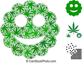 Smiled Sticker Collage of Marijuana - Smiled sticker collage...