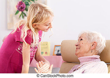 Smilening granddaughter - Close up of smilening...