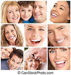 smiler, og, tænder