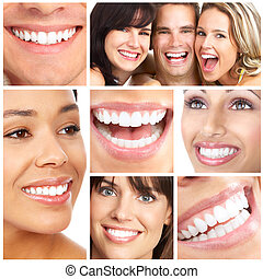 Smiles and teeth - Faces of smiling people. Teeth care. ...