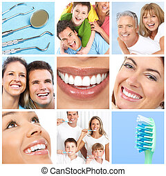 Smiles ans teeth - Faces of smiling people. Teeth care. ...