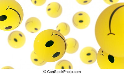Smiles - Emoji emoticons on white background falling down.