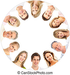 Smiles - Faces of smiling people. Over white background