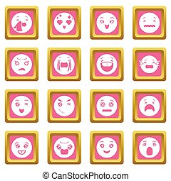 Smiles icons set pink square
