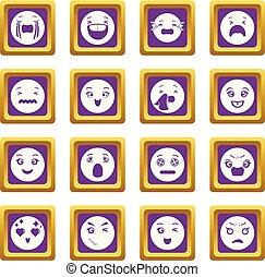 Smiles icons set purple square vector