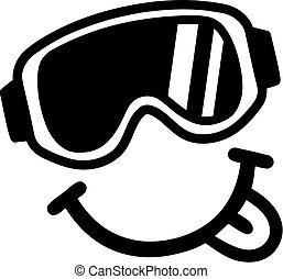 smiley, óculos proteção esqui, tounge