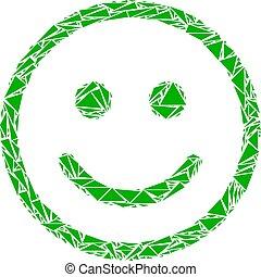 smiley, うれしい, モザイク, 三角形
