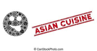 smiley, 图标, 亚洲人, 传染, 拼贴艺术, 舌头, 烹饪, 邮票, 悲痛, 线