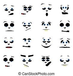 smiley, 漫画, faces.