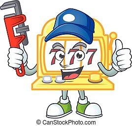 smiley, 金, マスコット, スロット, スタイル, 映像, 機械, 配管工