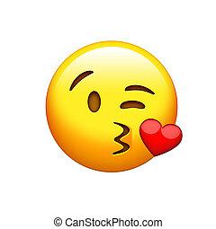 smiley, 隔離された, 黄色の額面, 口, 接吻, アイコン