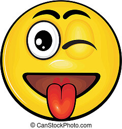 vector cartoon yellow smiley with funny expression