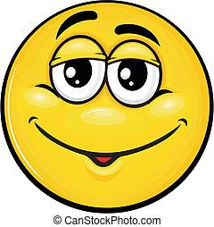 smiley 11 - vector cartoon yellow smiley with funny...