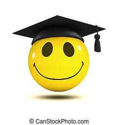 smiley, 3d, afstuderen