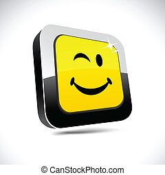 Smiley 3d square button.