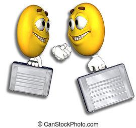 smiley, affärsfolk, handslag, &, bana