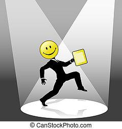 smiley, alto, passo, pessoa negócio, dança, em, holofote