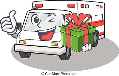 Smiley ambulance character with in gift box