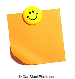 smiley and blank or empty sheet of paper with copyspace isolated on white